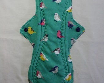 Kiki Mama Cloth Menstrual Pad Overnight 12 in Size Colorful Birds