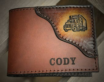 Trucker Wallet, classic Bi fold style shown, wallet for a truck driver, Initials or Name engraved Free! Made in the USA