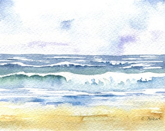 Seascape Painting Original Watercolor of Ocean Waves