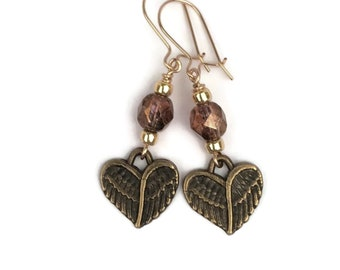 Sterling Heart Wing Earrings, Gold Filled, Heart Earrings, Wing Earrings, Czech Glass Bead Jewelry, Victorian Jewelry, Choice of Ear Wires