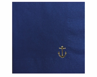 Anchor Napkins - Gold Foil Napkins