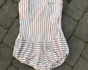 Vintage white and brown striped Sun Dress/ Small-Medium / 1950's adorable beach wear One Piece Swimsuit