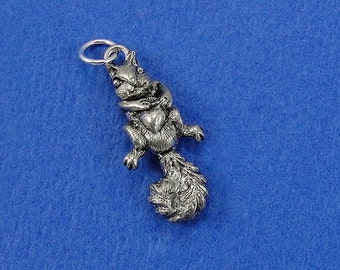 Squirrel Charm - Silver Plated Moveable Squirrel Charm for Necklace or Bracelet