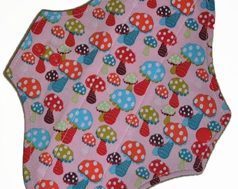Light Core- Polka Dot Shrooms Reusable Cloth Pantyliner Pad- WindPro Fleece- 8.5 Inches