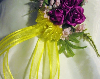 Handmade magenta rose corsage pin