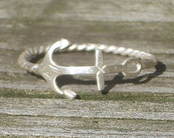 Anchor Ring Sterling Silver -Stacking Ring