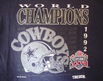 Vintage 90's NFL Dallas Cowboys Football World Champions 1992 Super Bowl XXVII
