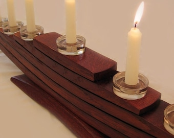 Il Veliero, Green Candelabrum, Eco friendly Menorah, recycled oak wine barrel staves candleholder, nine glass holders and candles