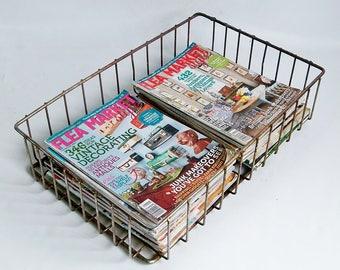 Industrial Chic Vintage Welded Wire Basket - Stuff Corral, Desk Organizer, Flat File Basket, Magazine Storage