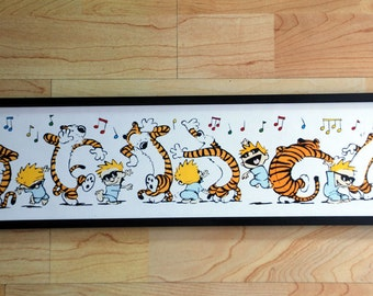 "Calvin and Hobbes Pajama Dance Framed Print 18"" x 5"""