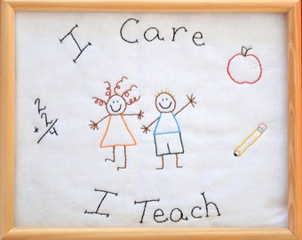 "PDF Embroidery Pattern ""I Care I Teach"" Simple Stitchery"