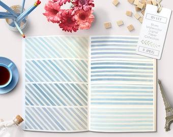 watercolor backgrounds, blue watercolor digital paper, watercolor patterns, striped watercolor digital paper, printable scrapbook paper