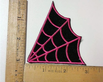 Black and Pink Spider web Iron on Patch