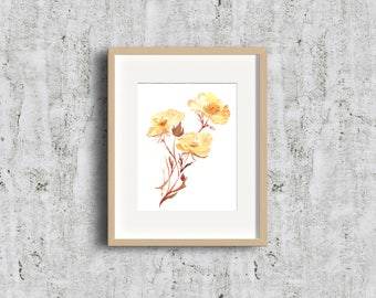 Limited Edition! Yellow Gold Geums Flowers - Bold Flower,  Art Gift, Give Art