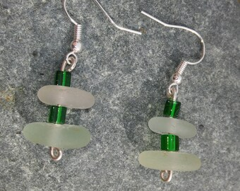 Sea Glass Earrings, Sea Glass, White and Green sea glass, Dangle earrings, Sea glass jewellery, Boho style,  Birthday Gift, Bridesmaid gift.