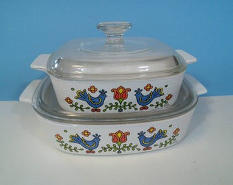 2 Corning Ware Country Festival Casserole Dishes With Lids, Bird Pattern,  A-1-B, A-8-B, 1970's Vintage