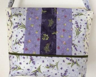 Lavendar Bermuda bag, Handmade fabric handbag, Lavender cotton purse with interior pockets