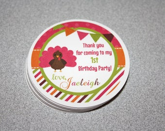 TURKEY GIRL Favor Tags / Turkey Party Tags / Turkey Gift Tags / Turkey Birthday Party / Turkey Birthday / Fall Favor Tag/Fall Birthday Party