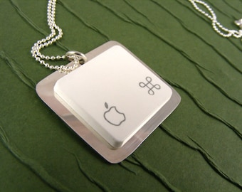 Apple iNecklace - Sterling Silver Recycled Mac computer Key Jewelry, keyboard, recycled, birthday, wedding, anniversary gift