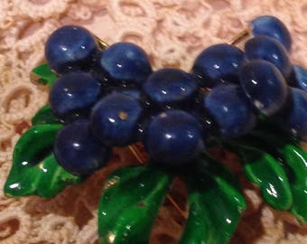 vintage enameled grapes brooch with leaves. circa 1970's.