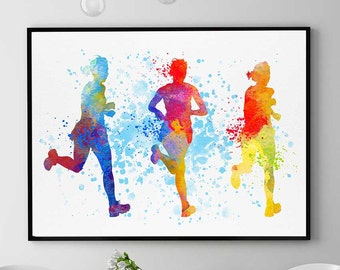 Half Marathon Gift, Sports Print, Gift For Runners, Watercolor Prints, Home Wall Art Decor