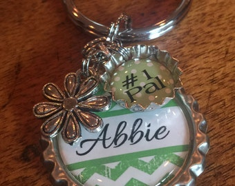 Buddy Gift Keychain, Personalized, Bridal Shower Gift, THANK YOU, Number One Mom, Dad, Babysitter, Teacher Gift Etc. Bottle Cap Keychain