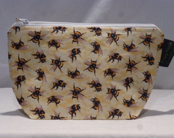 """Spring time """"Pollinators"""" - Notions Pouch - zippered, cosmetic, knitting/crochet project bag"""