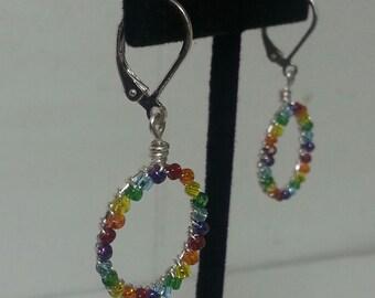 Wire Wrap Rainbow Beaded Hoop Earrings