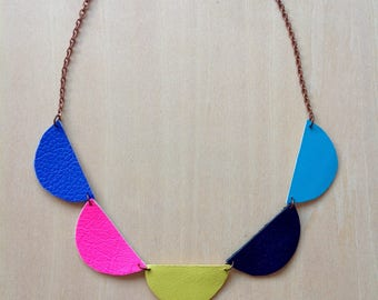 Scallop Necklace - Bunting Necklace - Semicircle Necklace - Leather Necklace - Colourpop Necklace - Scallop Jewellery - Geometric Necklace