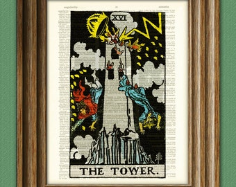 The Tower Major Arcana Tarot Card print over an upcycled vintage dictionary page book art