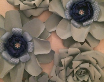 Paper Flowers Light Blue Assortment set of 5