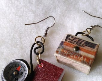 Small suitcase, compass and book earrings! All for the trip for your ears!