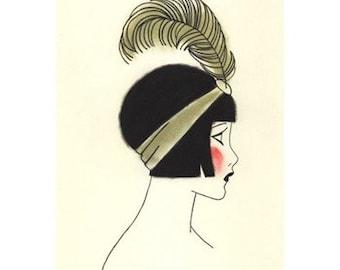 "Art Deco art print SALE set X 5 - SALE SET of flapper drawings (4"" X 6"" prints)"
