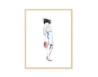Giclee Fashion Illustration Print 8x10 (UNFRAMED)