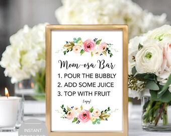 Momosa Bar Sign, Baby Shower Mimosa Bar Sign, Baby Shower Momosa Bar Sign, Printable Momosa Bar Sign, Mimosa Bar Instant Download