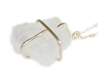 Raw Crystal Quartz Apophyllite Clutch Pendant Sterling Necklace Organic Modern Jewelry