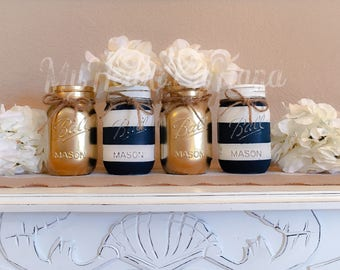 Nautical Baby Shower Centerpiece, Navy Blue and White Stripes Distressed Mason Jars, Painted Ball Jars, Rustic Home Decor, Gold Mason Jars