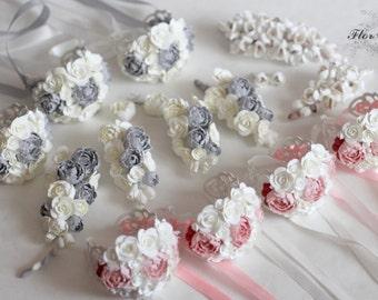 peony corsage, grey bride bracelet, peony bracelet, peach bride, grey bride hair, bridesmaids peach, wedding, peach corsage, grey wedding