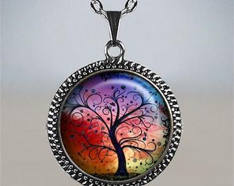 Rainbow Tree of Life glass pendant, tree of life jewelry, tree of life necklace, tree jewelry, rainbow tree necklace, rainbow jewelry