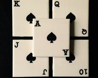 Playing Card Tile Coasters -Set of 5