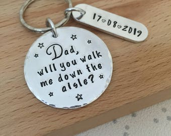 father of the bride, will you walk me down the aisle, walk me down aisle, walk with me daddy, asking to walk down aisle, personalised gift
