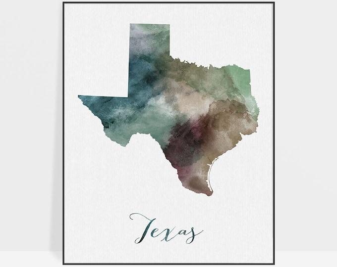 Texas map, print, poster, Texas travel map, Texas state, U.S state print, Wall art, travel poster, watercolor, home decor, ArtPrintsVicky
