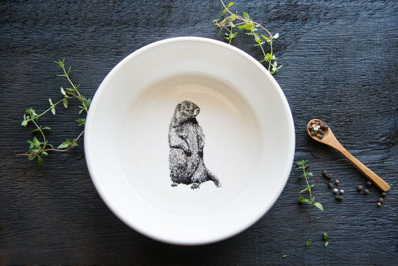 Handmade Porcelain shallow bowl/pasta bowl with woodchuck drawing by Cindy Labrecque, Canadian Wildlife collection