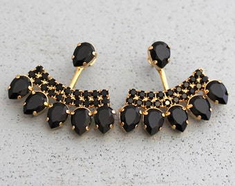 Ear Jacket Earrings, Black Gold Ear Jackets, Swarovski Crystal Earrings, Trending Jewelry, Gift for her,Black Earrings, Gold Ear jacket
