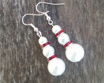 Triple Pearl Earrings with Red Crystal Accents, Faux Pearl Jewelry, Pearl Wedding, Bridal Jewelry - Available in Clip-on Earrings