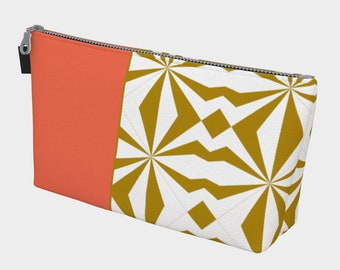 Tribal Gold Orange Makeup Bag