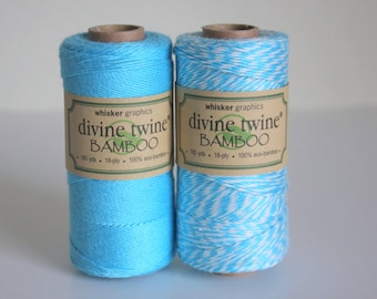 CLOSEOUT - Bamboo Divine Twine - Solid Aqua or Stripe Bakers Twine - Full Spool - 180 yards