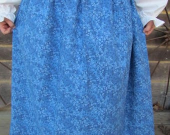 Old Fashioned Colonial Laura Ingalls  1800s Little House on the Prairie -Royal Blue Pioneer Skirt- Child Sizes