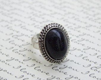 Galaxy Adjustable Stone Ring, Antique Silver Oval Ring, Statement Ring, Black Gemstone Ring, UNDER 30