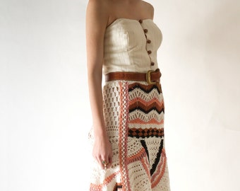 RESERVED for ALIZA - Bohemian Hand Crocheted Maxi Skirt, Hi-Low Knitted Skirt, Winter wedding, One-of-a-kind